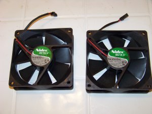 2 computer fans Nidec beta v TA 350DC MODEL m34709 55 electronic part 2 wire
