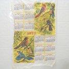 vintage 1973 cloth dish towel calendar with birds