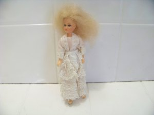 vintage 1973 Lesney doll in white lacey dress Matchbox toy