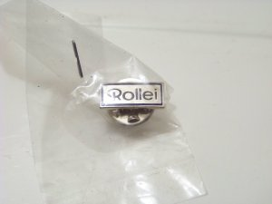Rollei silver tone advertising pin jewelry camera film photography ad button