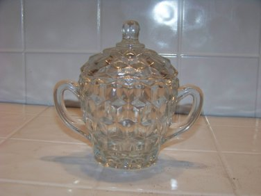 Whitehall clear glass cubic two handle sugar bowl