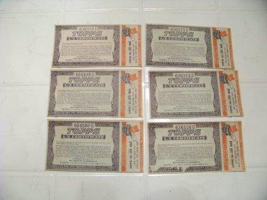 6 Vintage Topps 1/2 certificate chewing gum advertising premium