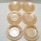 6 Fire King Luster oven ware saucers in Laurel leaf pattern lustre glass