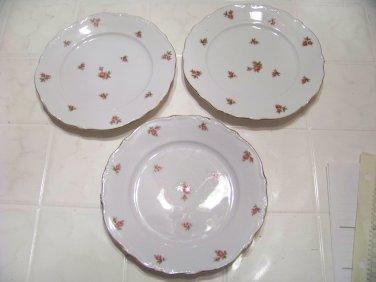 3 Vintage Bavaria Western Germany rose pattern dessert plates
