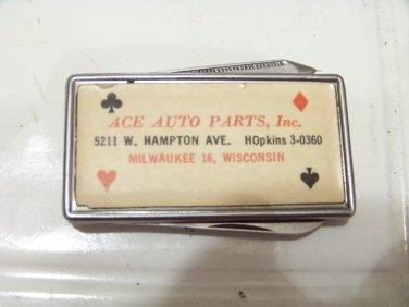 vintage Ace Auto Parts advertising pocket knife money clip file Milwaukee WI