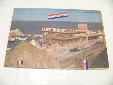 vintage Cliff House restaurant menu postcard ephemera 1961