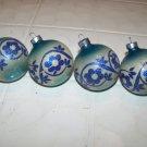 4 vintage glass Christmas tree ornaments bulbs blue flower franke premier glass