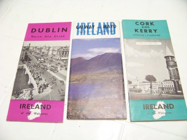 3 vintage Ireland travel brochures Dublin Cork Kerry Galway Mayo ephemera paper