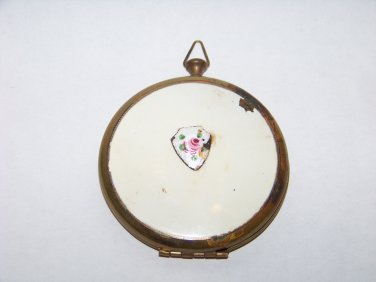 vintage round white enamel and brass compact mirror vanity makeup beauty