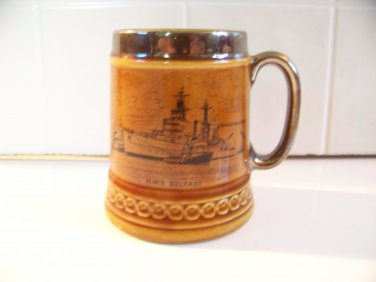 Vintage H.M.S. Belfast coffee cup mug Lord Nelson Pottery Military Naval