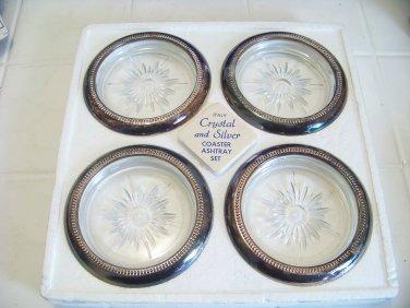 4 vintage crystal and silverplate Eales Leonard Starburst glass coasters Italy