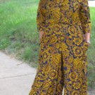vintage 60's 70's hippie jumpsuit wide legged paisley belted