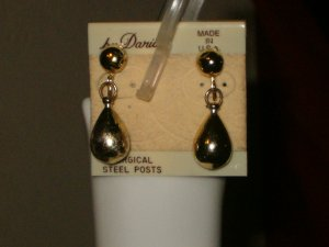 Gold Tear Drop Dangle Clip-on Earrings