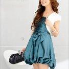 Graceful Bow-Accent Bubble Dress - Blue