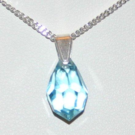 J1050-15BA Sterling Silver Crystal Teardrop Pendant