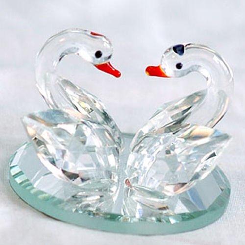 179 Crystal Swans on Mirror Base