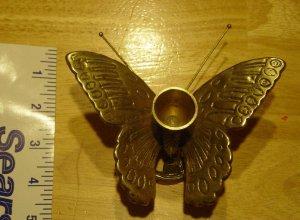 Vintage Brass Copper Butterfly Candle Stick Holder MINT