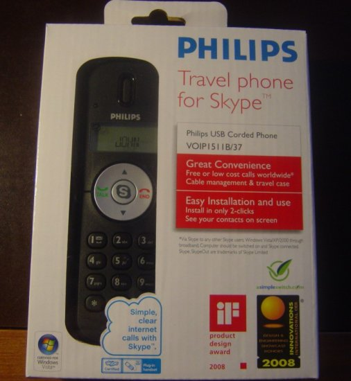 New Philips VOIP1511B/37 Skype Travel Phone VOIP Wired