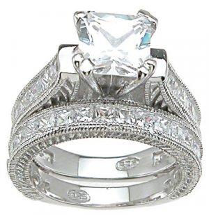 Princess Cut Engagement Set Ring