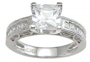 Princess Cut Channel Wedding Ring