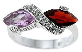 Genuine Amethyst And Garnet Ring