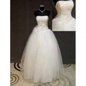 Ball Gown Strapless Floor-length Satin Tulle Ball Gown Wedding Dress