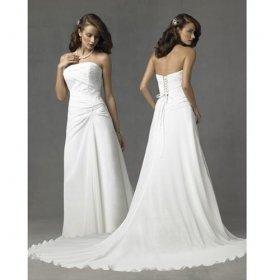 Strapless Chapel Train Satin Taffeta Wedding Dresses