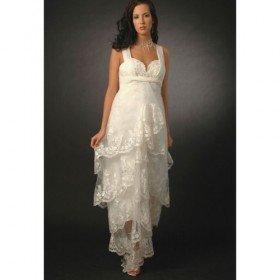 Empire Straps Floor-length Satin Organza Maternity Wedding Dress