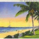 Bathing Beach and Pier, Palm Beach, FLA 1936 linen Nice
