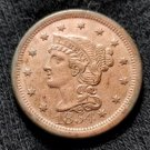 1854 Coronet Head Large Cent - AU Details
