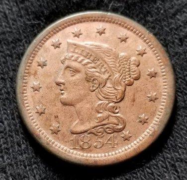 1854 Coronet Head Large Cent - AU Details
