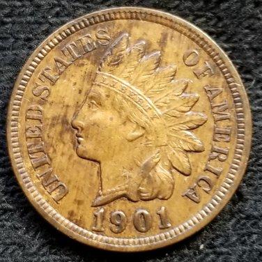 1901 Indian Head Cent - AU55 details