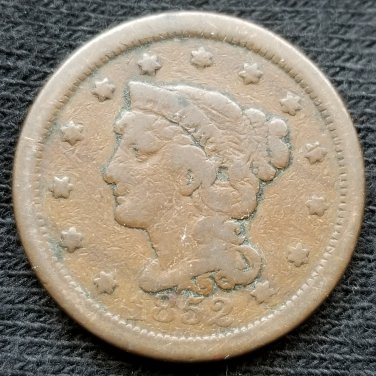 1852 Braided Hair Large Cent - VG8