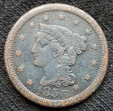 1856 Braided Hair Large Cent - VF20 details
