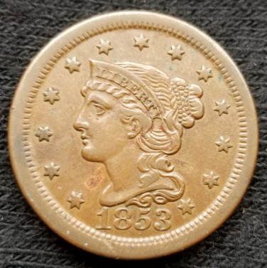 1853 Braided Hair Large Cent - XF40