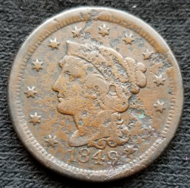 1849 Braided Hair Large Cent - Filler