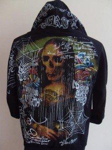 Minute Mirth Skull Monalisa Tattoo Hood Jacket Black L