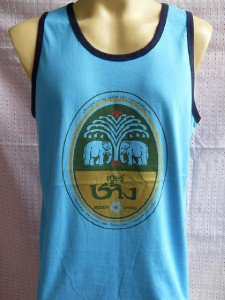 Thai Chang Beer T-shirt Tank Top Singlet Blue L XL