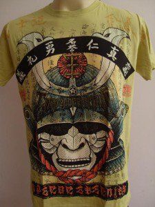 Emperor Eternity Samurai Face Mask T-shirt Yellow L