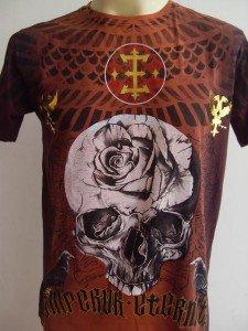 Emperor Eternity Skull Rose Tattoo Men T-shirt brown M