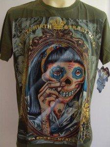 Minute Mirth Beauty Skull Lady Tattoo Men T-shirt L