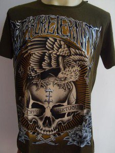 Emperor Eternity Eagle on Skull Tattoo T shirt Green L