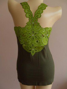 Flower Sexy Woman's T-Shirt Tank Top Vest Green XS #GF