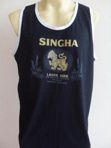 Thai SINGHA Beer Men T-shirt Tank Top Cardet Black XL