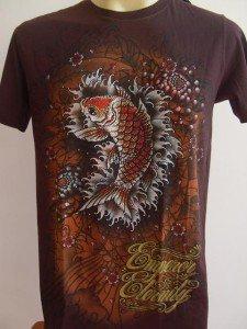 Emperor Eternity Glittering KOI Tattoo T-shirt brown M #Dark