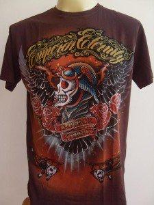 Emperor Eternity Skull Pilot Tattoo T shirt brown L