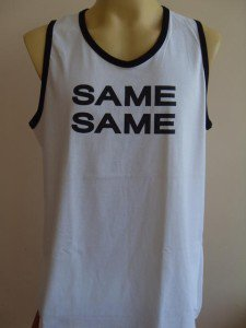 Thai SAME SAME T-shirt Tank Top Singlet White L