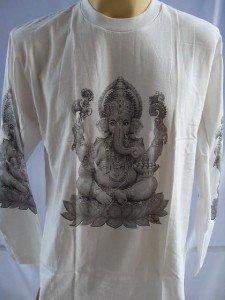 Ganesh  Ganesha Men's T Shirt Long sleeve OM Hindu India God White M