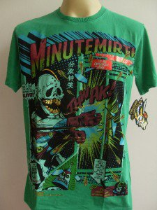 Minute Mirth Golden Teeth Skull Superhero Tattoo  Men T-shirt  Green L