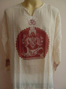 Ganesh Ganesha OM Men's T Shirt Hindu India Pale White  XL # red print
